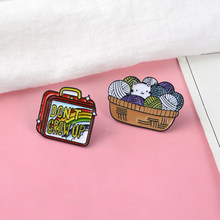 Don't Grow Up ! Cute Cartoon Vintage red suitcase Rainbow Colorful childhood Debris basket Cat Yarn Ball Hard Enamel Brooch Pin(China)