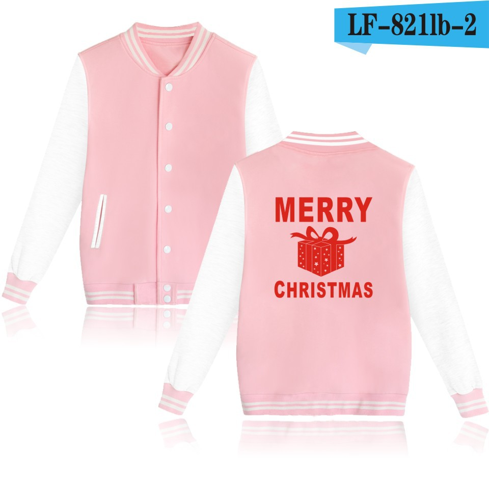 Baseball jacket Merry Christmas box feminines college Pink jackets Harajuku style women jacket new autumn winter coat Jackets