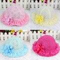 Primavera e no verão de 2016 Meninas Coreanas rendas Princesa chapéu cap viseira bebê bebê verão chapéu de sol pesca