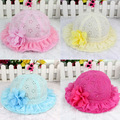 The spring and summer of 2016 Korean Girls Princess lace hat cap visor baby baby summer sun fishing hat