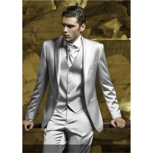 Custom Silver Grey Satin Mannen Pak Slim Fit Skinn Podium Prom