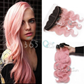 7A Brazilian Virgin Hair Weave 3 Bundles Body Wave With Ear to Ear 13x4 Lace Frontal Closure Ombre #1B/Pink Natural Hairline
