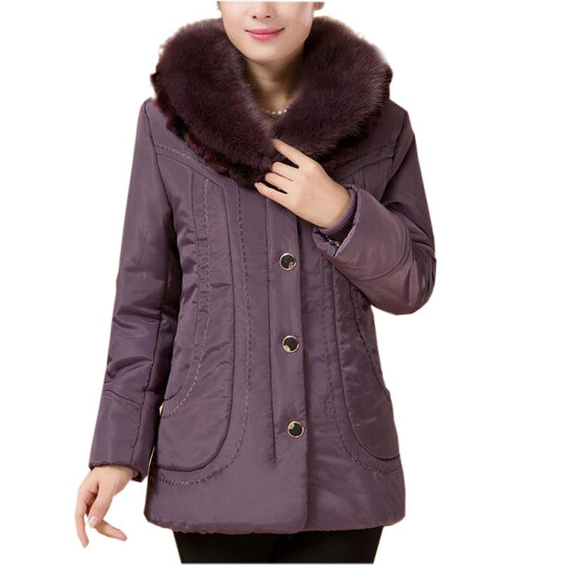 Las ancianas madre medio-largo de algodón acolchada chaqueta de la capa de media