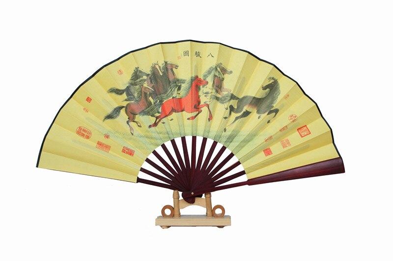"""1"""" украшенный Шелковый складной Ручной Веер человек большой бамбуковый китайский Печатный веер из ткани традиционное ремесло свадебные сувениры веер - Цвет: horse"""