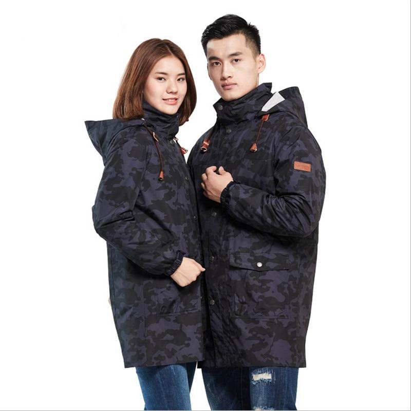 Nouveau automne et hiver amoureux de plein air long deux ensembles de vestes deux pièces costume hommes et femmes épaississement ski femmes vestes Pizex