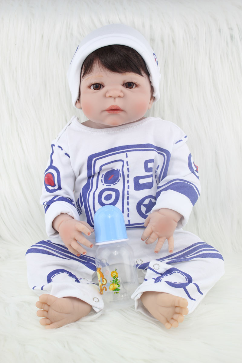 55cm Full body silicone reborn boy babies dolls toy 22inch newborn  baby doll like real child kid birthday gift girls brinquedos 22 inch silicone dolls reborn boy 55cm full body realistic reborn baby doll bathed doll toy in soft blue clothes birthday gifts