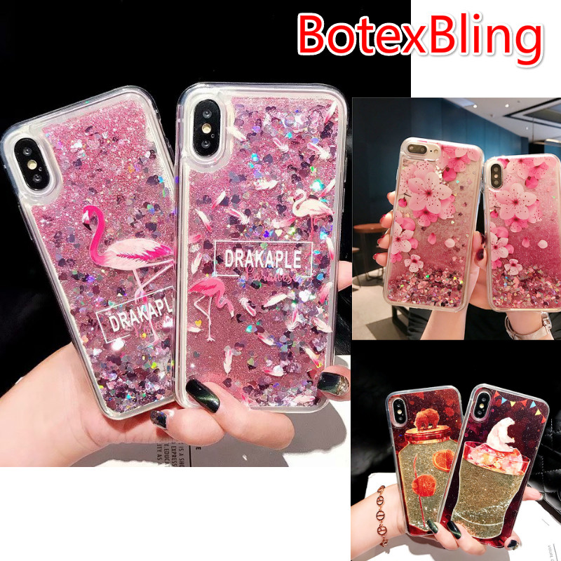 BotexBling Nette Cartoon Jar Bär Flüssigkeit Quicksand Telefon Fall für iPhone X 7 7 plus 8 8 plus 6 6 s plus 6 plus Flamingo abdeckung XS MAX