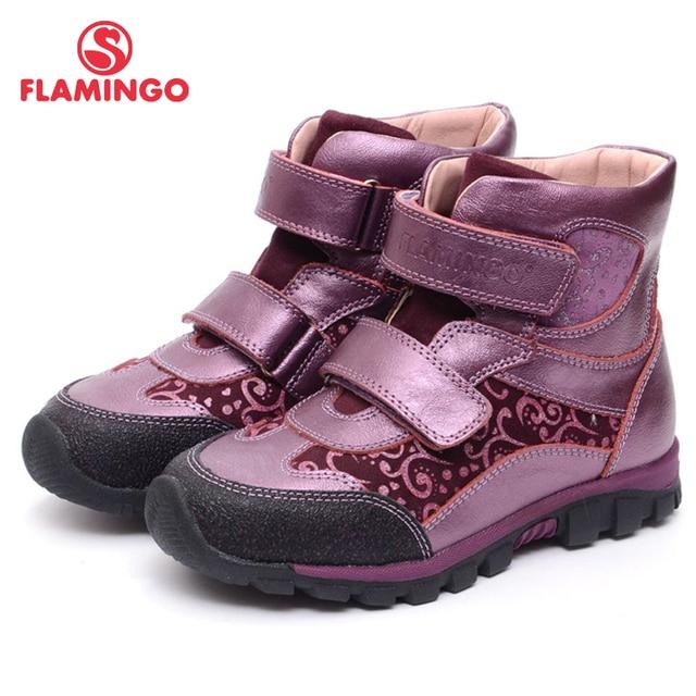 Осенняя обувь с Фламинго из войлока и кожи на липучке, модные ботинки, брендовая Нескользящая детская обувь для девочек, размер 28-33, бесплатная доставка, XB4877