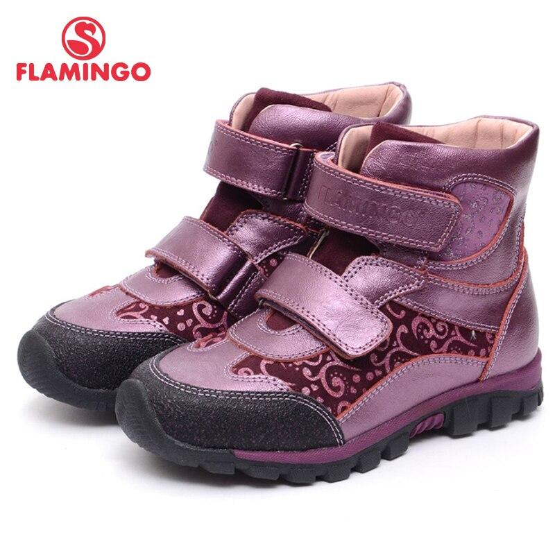 FLAMINGO Autunno Caviglia Feltro Pelle Hook & Loop Stivali Moda Stivali di Marca Anti-scivolo Per Bambini Ragazze Scarpe Taglia 28- 33 di Trasporto libero XB4877