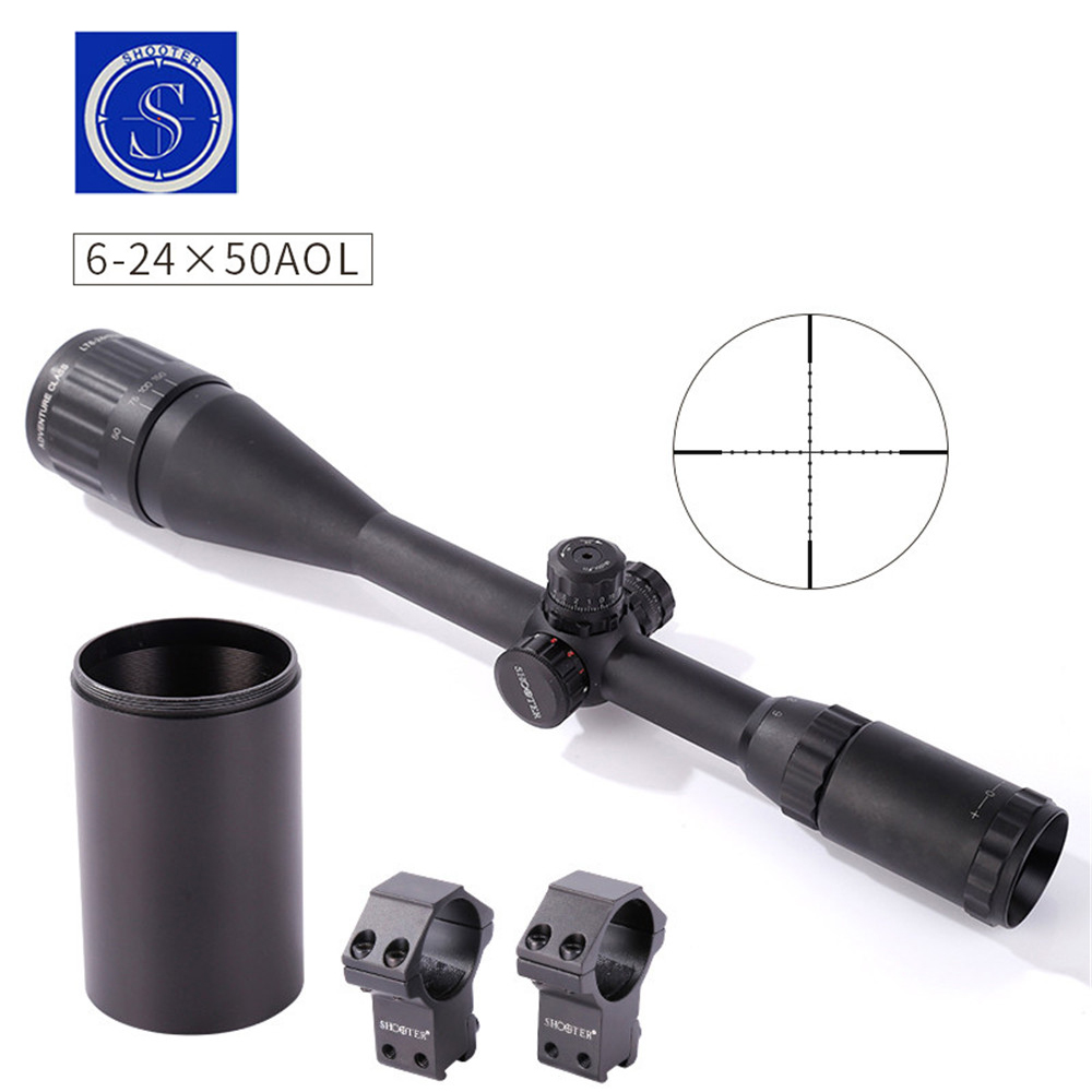 Rifle scope SHOOTER 6-24X50AOL Illuminated Crosshair Outdoor Sight Hunting Traveling Monocular gun scope rifle scope canis latrans cl1 0285 3x 9x illuminated crosshair outdoor sight hunting traveling monocular gun scope 20mm or 11mm