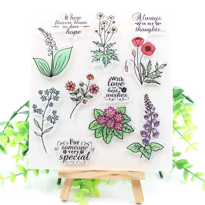 YPP CRAFT Flowers Transparent Clear Silicone Stamps for DIY Scrapbooking/Card Making/Kids Fun Decoration Supplies