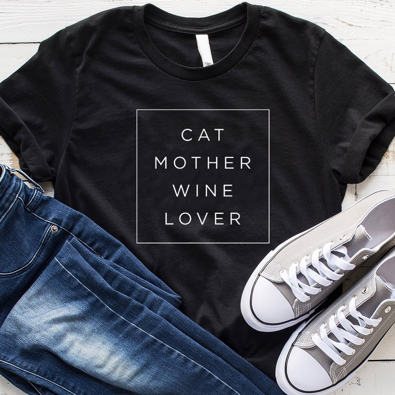 Cat Mother Wine Lover T Shirt Plus Size Funny <font><b>Graphic</b></font> <font><b>Tees</b></font> <font><b>Women</b></font> Clothes <font><b>2019</b></font> Summer Cat Mom Tshirt Fashion Tops Drop Shipping image