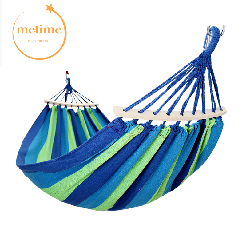 METIME Hammock with stick Double 200x150cm High Quality Garden swing Sleeping bed Portable Outdoor Camping Garden hanging chair high quality hammock camping hanging double swing outdoor parachute large sturdy compact portable hammocks