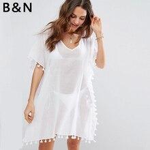 2018 summer Beach Cover Up tassel bikini blouse chiffon shirt women sun protection clothing Kaftan Coat