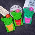 Diseño divertido 3D Lindo Dots Flor de Cactus Teléfono de Silicona de Goma Suave caso para iphone 6 6 s planta del desierto más 7 contraportada caso