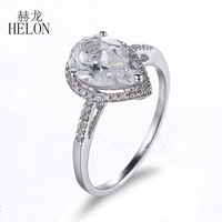 Helon 10x7 мм Груша 3ct Белый Топаз Кольцо slolid 10 К белого золота 0.2ct природных алмазов Обручение тонкой кольцо для Для женщин ювелирные изделия
