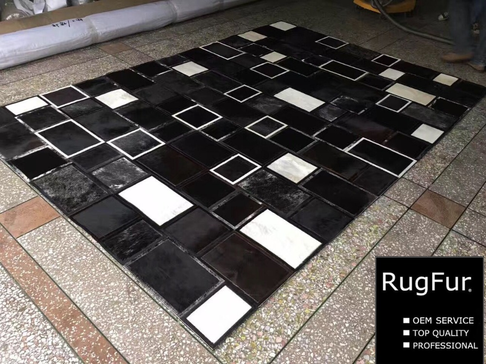 Buy black and white natural cowhide - Black and white living room rug ...
