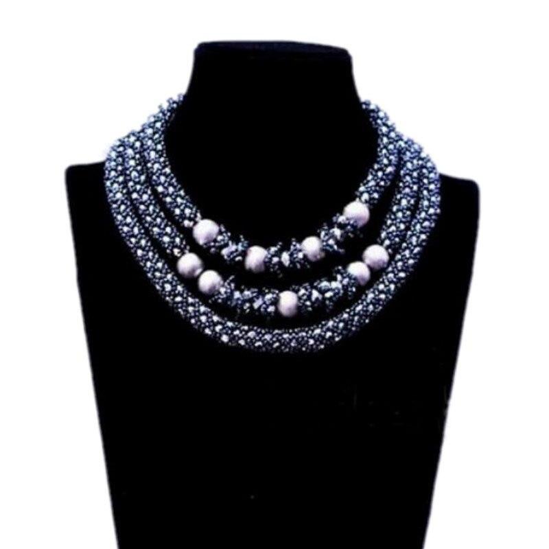 4 ubijoux 18.8 pouces gris foncé et argent collier ensemble pour les femmes africaines 3 rangées Tribal ethnique dames bijoux ensemble cadeau livraison gratuite