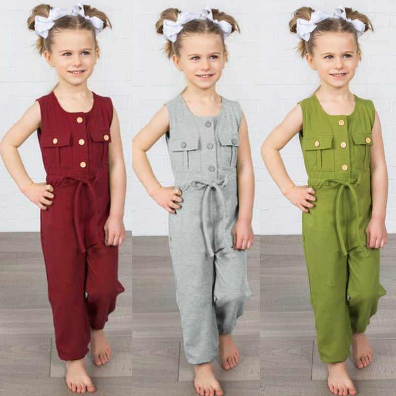 Pudcoco 2018 летнее платье для маленьких девочек на бретелях комбинезоны без рукавов с карманами и пуговицами для маленьких девочек Ползунки с длинным рукавом серый и красный цвета зеленый От 2 до 6 лет