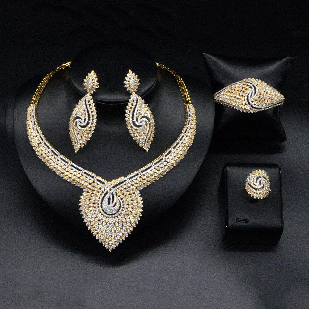 GODKI Luxury Nigerian Jewelry sets For Women Cubic Zircon Feather Wedding Blossom Flower Feather Indian bridal jewelry sets 2018 charming flower feather party hairband for women