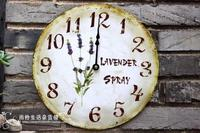 Free Shipping Unique Home Vintage Retro Fashion Rustic Lavender Wool Clocks Wall Clock Balcony Courtyard Garden