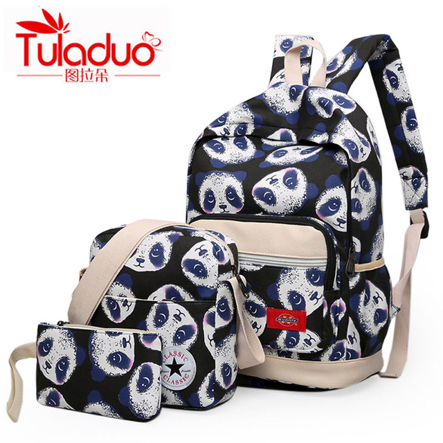 TULADUO New Fashion Canvas Printing Women Backpack Ladies School Bags For Teenager High Quality Backpacks Set 3/Pcs Book Bags