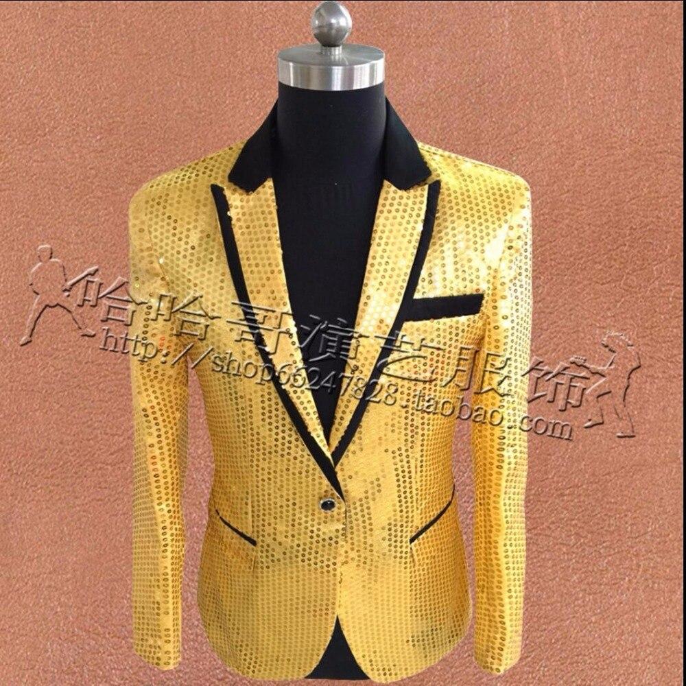 S 3XL New Slim Men Concert Suits Blazer Shining Sequins film Gold suit jacket nightclub Performance Host Singer Stage Costume