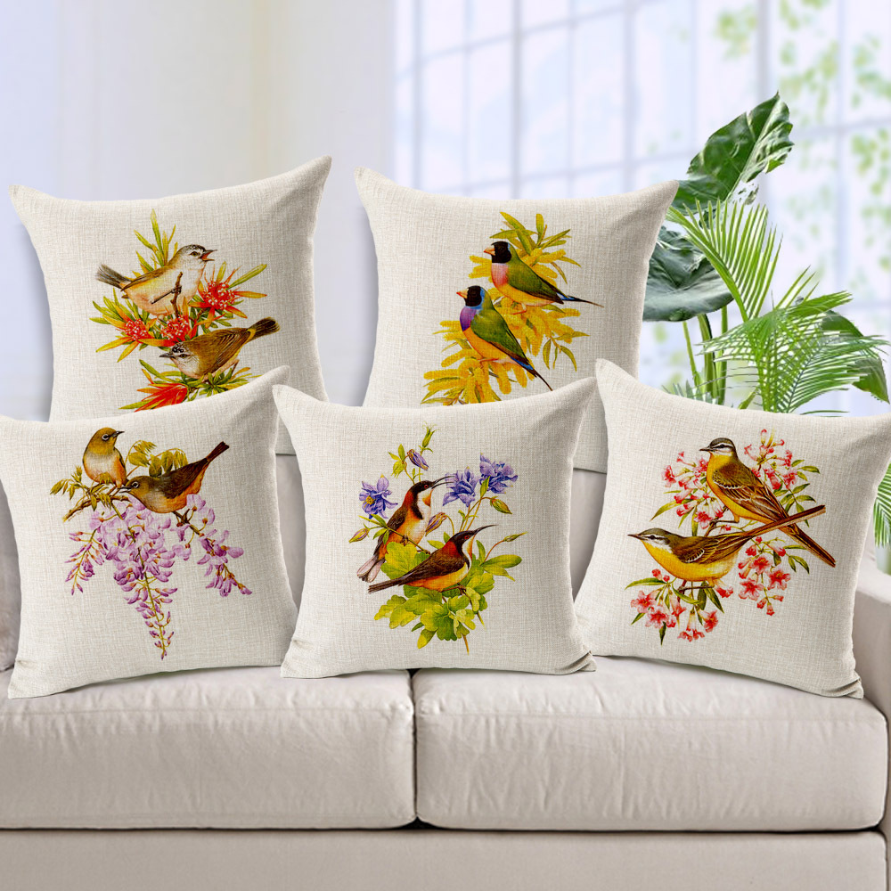 Rural Flower Bird Printed Cushion Covers American Country Style ...