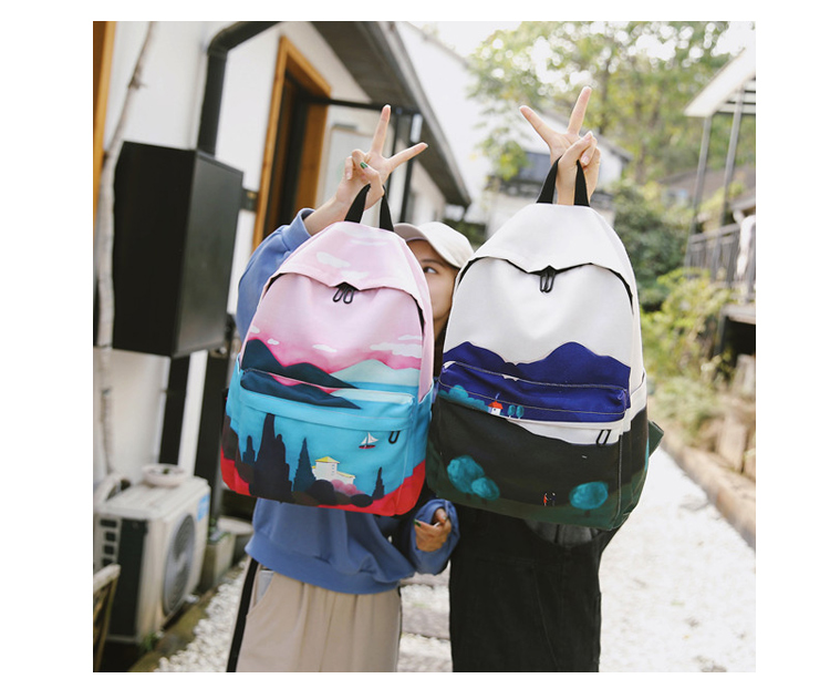 Menghuo Fresh Canvas Backpack Women Landscape School Bags for Teenagers Girls New Backpack Travel Bag Rucksack Mochilas Knapsack_34_08