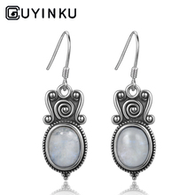 GUYINKU Natural Moonstone Dangle Earrings Oval Cut 8X10mm 925 Sterling Silver Jewelry