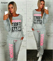 1 set print letter women's tracksuit lady casual pull over tops and pants loungewear XS-L