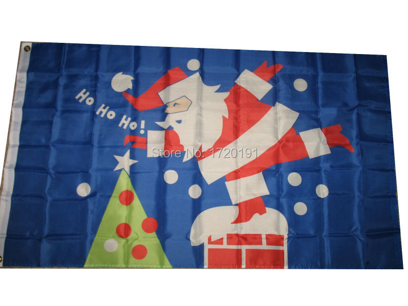 3x5 Merry Christmas Santa Claus Chimney SuperPoly Flag 3x5 House Banner