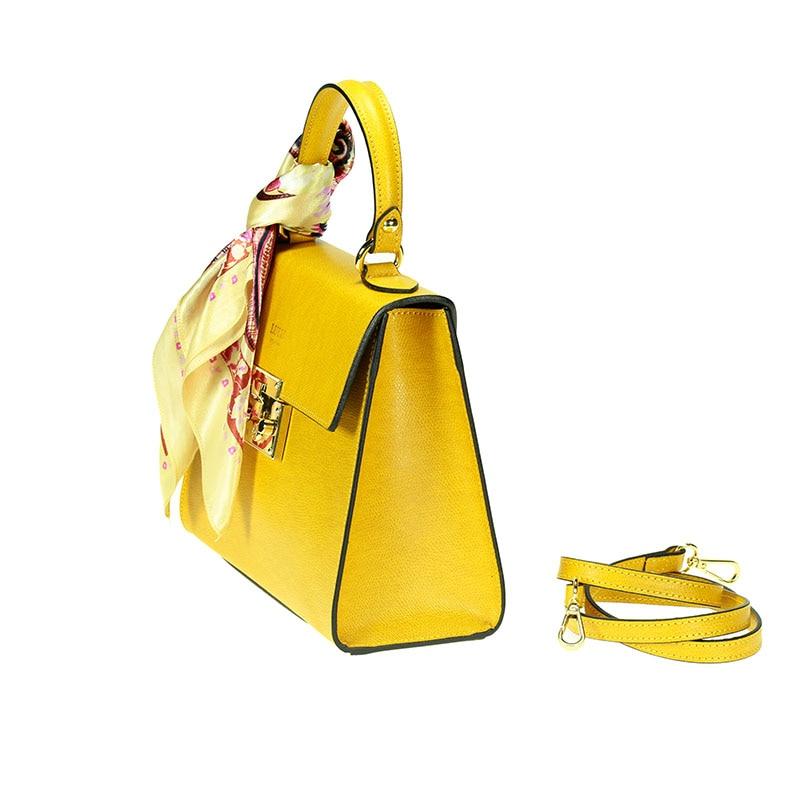 lulu milano Genuine leather made in Italy orange shoulder bag  85123-s 2