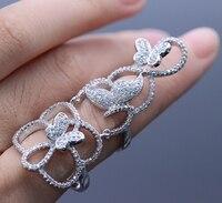 Jinyao moda nudillo filigrana Flor Mariposa ZIRCON Piedras oro blanco color anillo de dedo largo diseño señora joyería