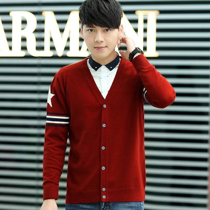 New Korean Style Man s Cardigans Sweaters Male Star Stripe Long Sleeve V neck Sweater Cardigan
