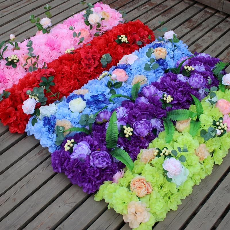 1 M luxe mariage route plomb fleur Rose hortensia fleur combinaison bricolage porte arquée fleur rangée fenêtre T scène mariage Decoratio
