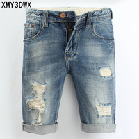 Male Denim Shorts 2018 New Summer Casual Cotton Knee Length Short Hole High Waist Jeans Shorts