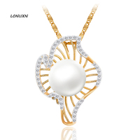 3cm Luxury Shell Flowers Luxurious gold necklace 100% genuine women jewelry high quality Mother pearl Pendant lovers best gift