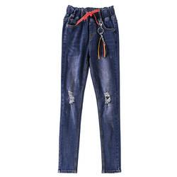 Для женщин узкие зауженные джинсы европейский стиль джинсовые штаны для Обувь для девочек эластичный пояс рваные промывают Джинсы для