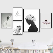 Feather Girl Daisy Bird Tree Wall Art Canvas Painting Quotes Nordic Posters And Prints Wall Pictures For Living Room Home Decor girl bird feather quotes wall art canvas painting nordic posters and prints black white wall pictures for living room home decor