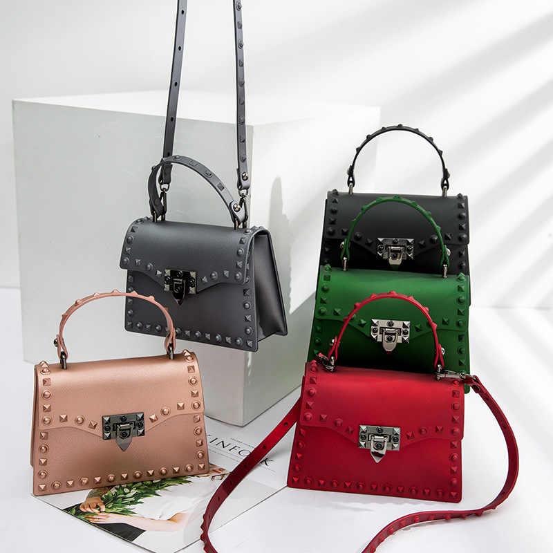 Designer Bags Female Jelly Beach Pvc Nubuck Women Brand Shoulder Messenger Matte Luxury Famous Rivet Waterproof Bag Handbag WdxreQCBo
