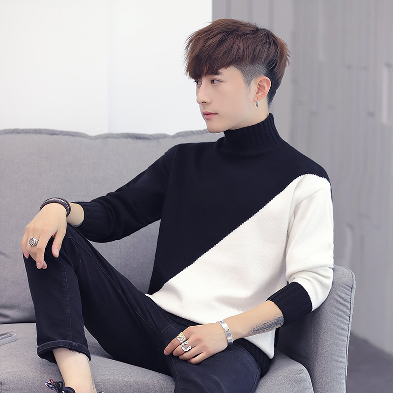 2019 Turtleneck Sweater Men Pullover Sweater Men Plus Size New Knitted Sweater Slim Color Fall Winter Sweater For Men