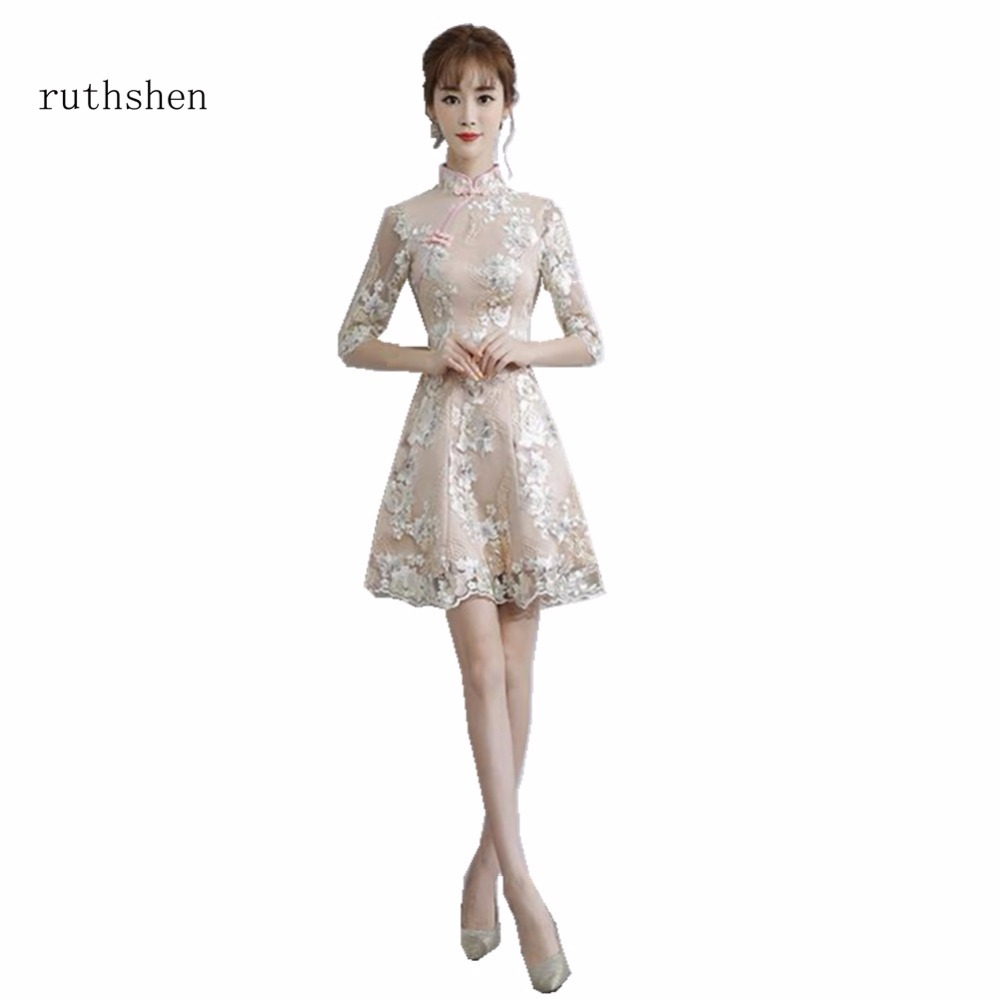 ruthshen Fashion A Line Above Knee Length   Cocktail     Dresses   Lace Half Sleeves Party   Dresses   Vestidos Coctel Special Party   Dresses