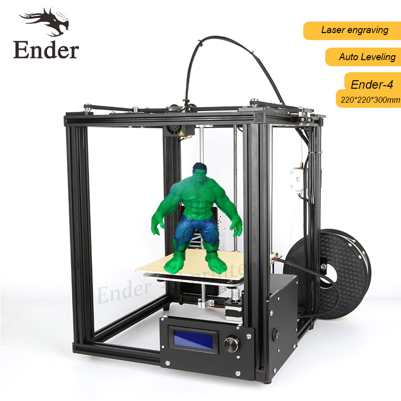 2017 Newest Ender-4 3D printer Laser,Auto Leveling,Reprap Prusa i3 coreyx 3D printer Kit with Filaments+8G SD card+Tools free