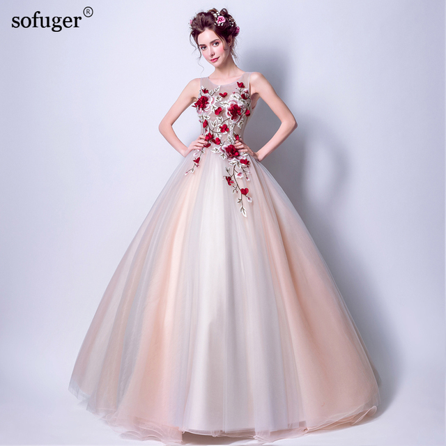 2018 Scoop Neck Sleeveless Ball Gown 3D Appliques Red Flower Elegant ...