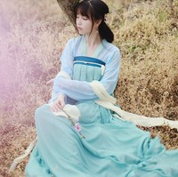 Women's Chinese traditional clothing 2018 summer women's Hanfu princess women wide sleeves skirt dance uniforms costumes
