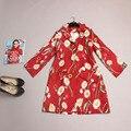 Новинка Пальто Новый 2016 Весенняя Мода Женщины Street Ежедневные Полный Рукавом Красный Длинные отложным Воротником Печати Цветы Случайные пальто