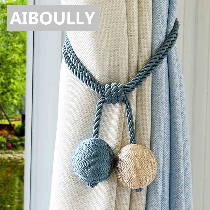 AIBOULLY 2pcs/set Curtain <font><b>Holders</b></font> Tieback Clips Hanging Ball Beaded Buckle Tie Back Straps Accessories Home Decoration