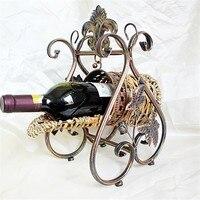 Cremalheiras do vinho de vime Novo Real europeu vinho Titular Bar Em Casa suporte de vidro de vinho Tinto titular Hotel Festa Acessórios barril de Metal vinho
