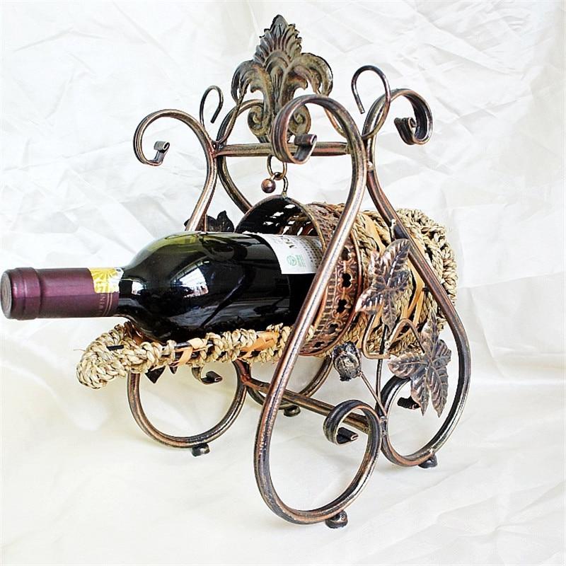 Estantes de vino de mimbre europeo New Royal Wine Holder Home Bar - Cocina, comedor y bar